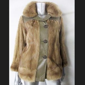 Vintage Mink and Leather Button Down Coat